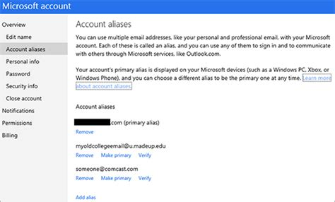 email microsoft account a better way to manage aliases and primary email address