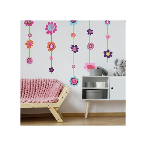 flower stripe giant wall decals big flowers stickers  girls floral deco decor ebay