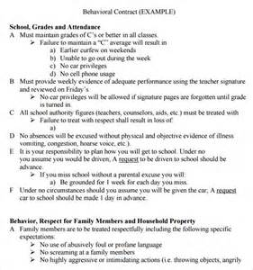 student contracts templates sle behaviour contract 14 free documents in