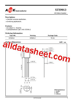 transistor s9013 s9013 데이터시트 pdf auk corp
