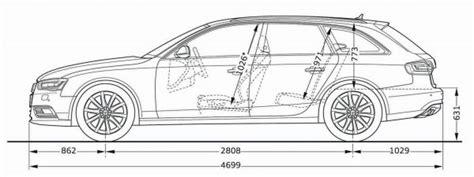 Abmessung Audi A4 Avant by Audi A4 Avant B8 Abmessungen Technische Daten