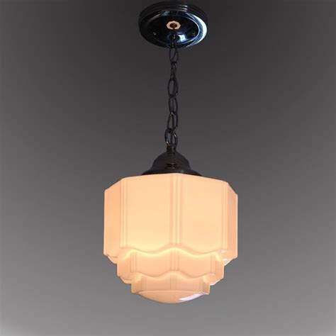 milk glass shade vintage 1930 s deco ceiling light