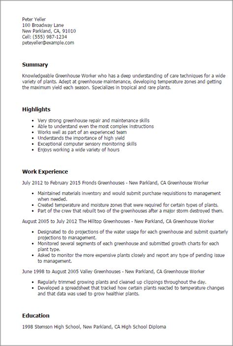 Greenhouse Worker Cover Letter by Professional Greenhouse Worker Templates To Showcase Your Talent Myperfectresume