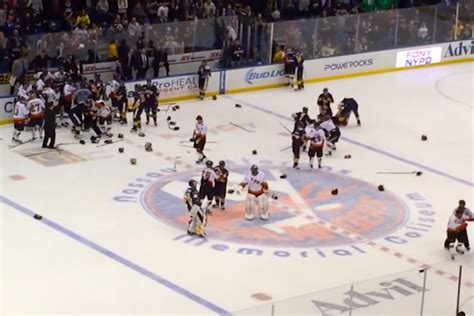 hockey bench clearing brawls bench clearing brawl unfolds at nypd vs fdny charity