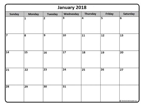 printable monthly calendar for january 2018 january 2018 calendar january 2018 calendar printable