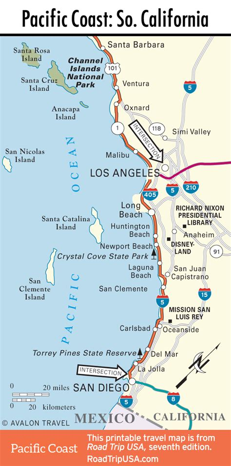pacific coast highway map pacific coast highway road trip usa