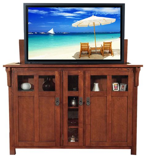 Craftsman Media Cabinet by Bungalow Chestnut Tv Lift Cabinet For Flat Screen Up To 60