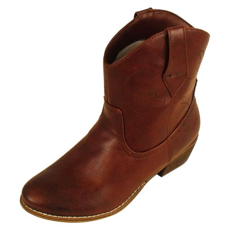 ankle cowboy boots womens new cowboy western boot smart faux leather ankle