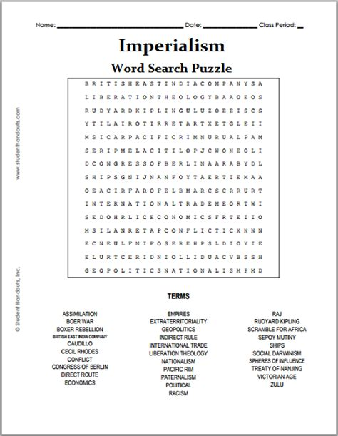 Imperialism Word Search Puzzle Student Handouts