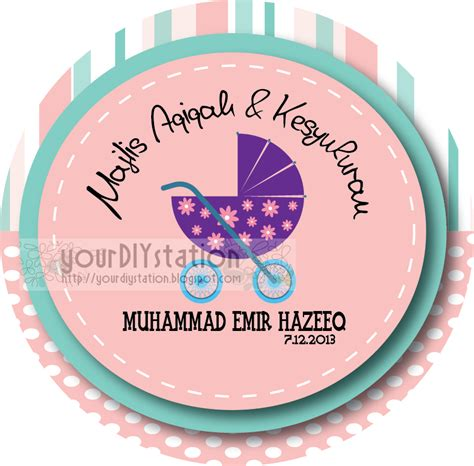 Design Tag Aqiqah | do it yourself sticker aqiqah