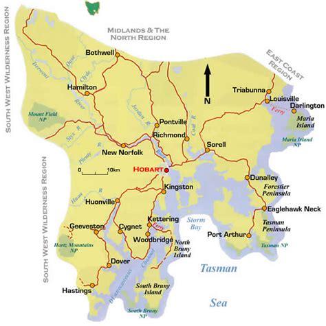 southern australia map map of wine region of southern tasmania tasmania australia