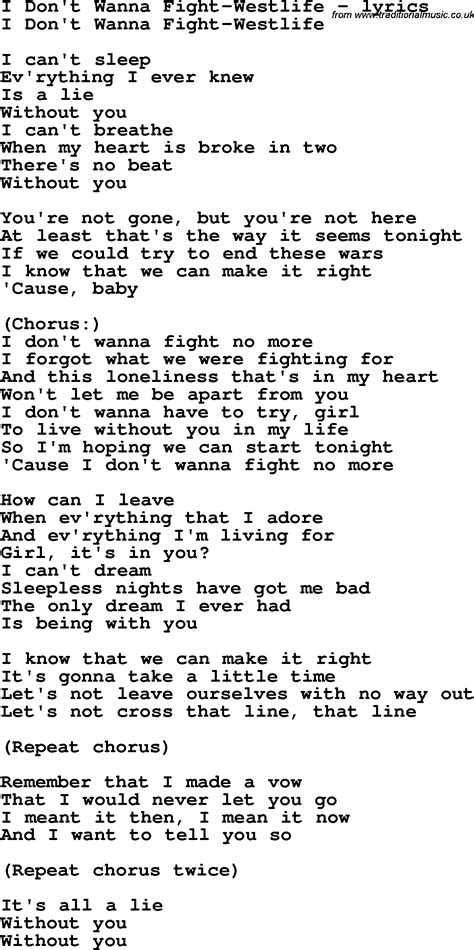song lyrics in song lyrics for i don t wanna fight westlife