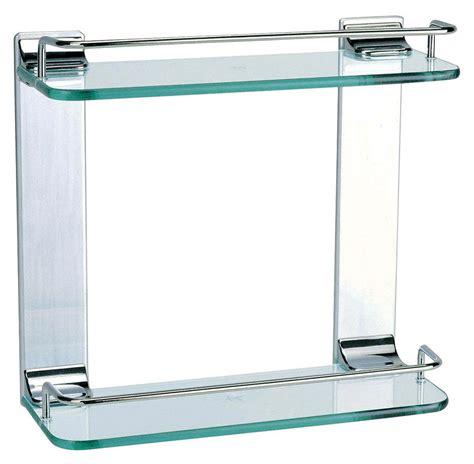 Bathroom Accessories Shower Double Glass Shelf Chrome Chrome And Glass Bathroom Shelves