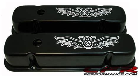 pontiac          tall steel valve covers black  white  logo