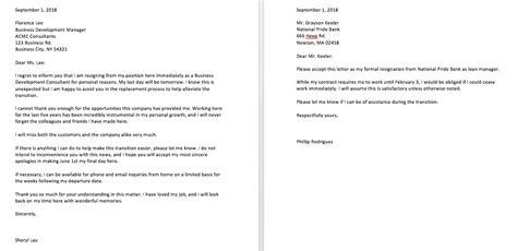 sample resignation letter reason effective