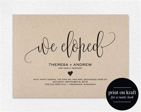 Wedding Announcement Cards by Best 25 Elopement Announcement Ideas On