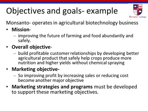 sle of goals and objectives introduction to marketing mc4050 ppt