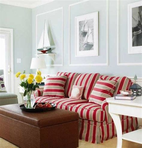 red stripe sofa nautical living room colors with red striped sofa http