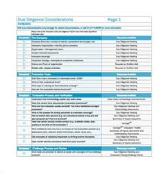 vendor due diligence report template sle due diligence checklist template 9 free
