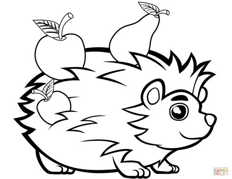 hedgehog coloring pages hedgehog with fruits coloring page free printable