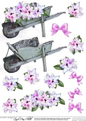 Free Decoupage Downloads For Card - flower filled wheelbarrow 3d decoupage sheet cup103539