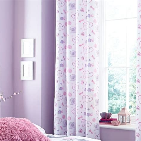girls lilac curtains catherine lansfield pretty kitty eyelet curtains girls
