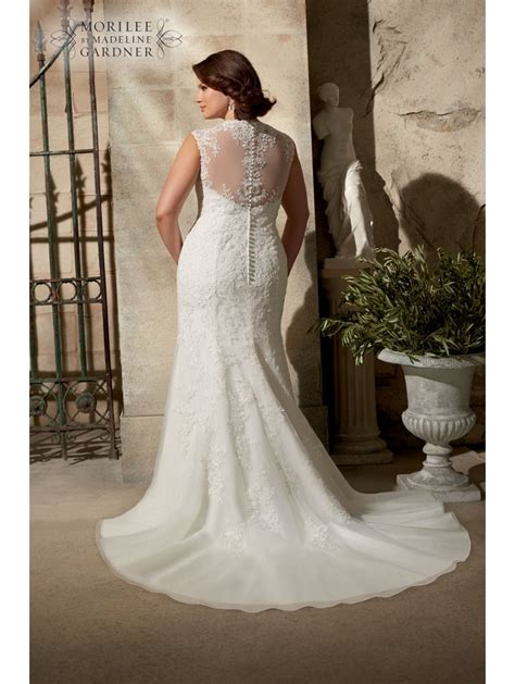 Wedding Dresses Size 24 by Mori 3177 Curvy Lace Wedding Dress Ivory