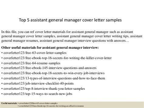 Assistant General Manager Cover Letter by Top 5 Assistant General Manager Cover Letter Sles