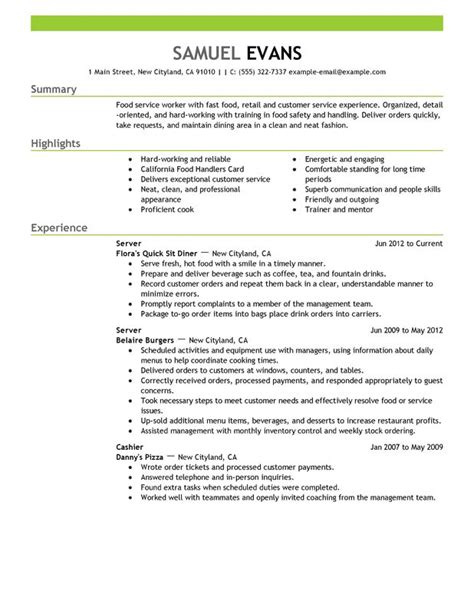 Resume Exles For Servers Fast Food Server Resume Sle My Resume