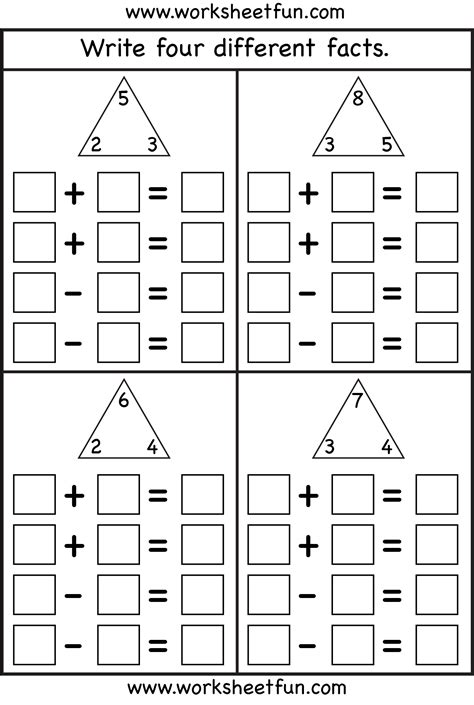 Free Fact Family Worksheets fact family complete each fact family 4 worksheets