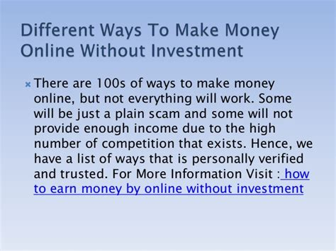 Different Ways To Make Money Online Without Investment - how to earn money by online without investment