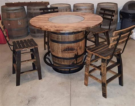 Whiskey Barrel Table With 4 Stave Chairs And