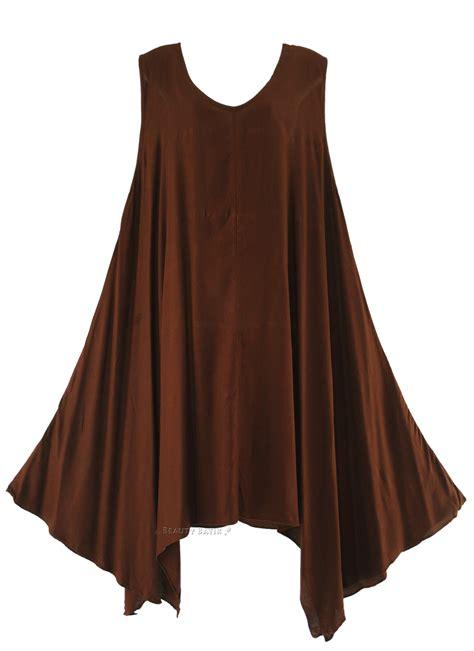 brown pattern tunic brown women women lagenlook plus size tunic top dress 0x