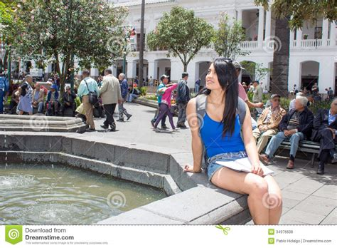 women in this town young woman tourist in historic old town quito royalty free stock photos image 34976608