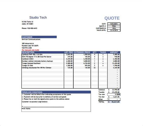 price quotation template 18 free word excel pdf