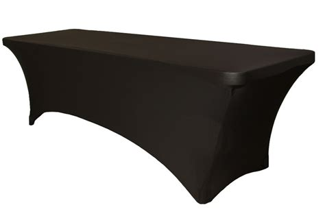 black spandex rectangle table cover event rental