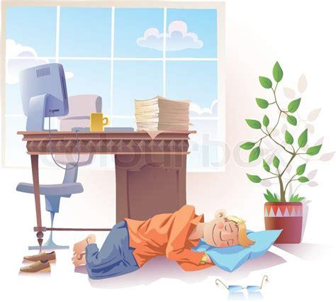 len aus es schlafen alle leute text schlafen am arbeitsplatz vektorgrafik colourbox