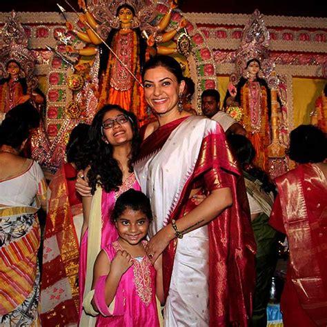 sushmita sen daughters sushmita sen celebrates durga puja with daughters