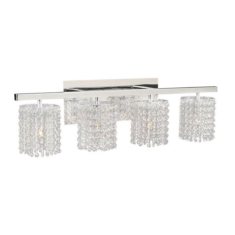 crystal vanity lights bathroom shop plc lighting 4 light rigga polished chrome crystal