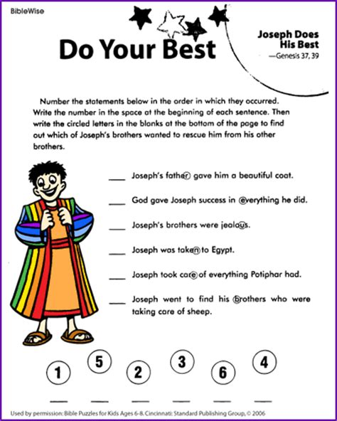 Joe And Worksheets by Do Your Best Joseph Puzzle Korner Biblewise