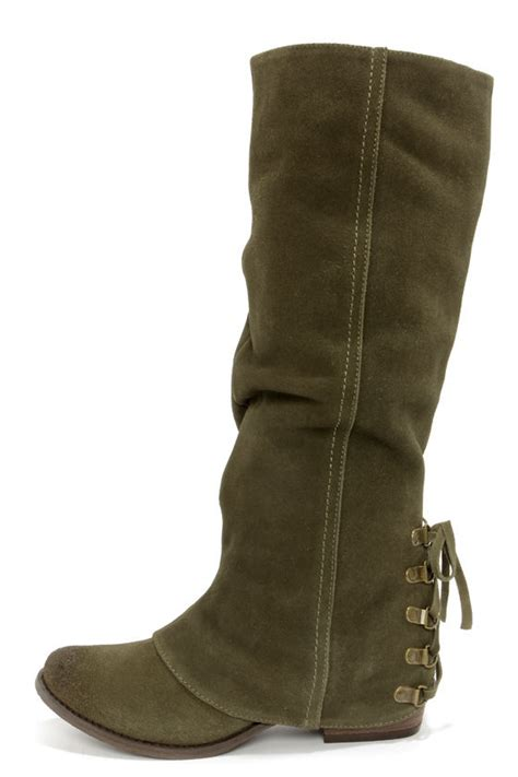 olive green boots leather boots knee high boots