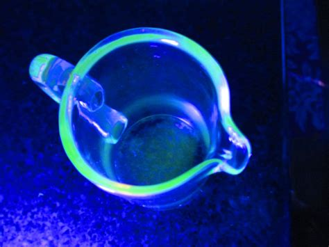 glass that glows black light fantastic uranium glass pitcher with applied handle glows
