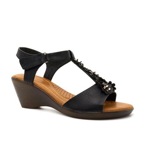 Wedges Ajk21 Wedges Sandal Flower new womens low wedge heel summer sandals ankle