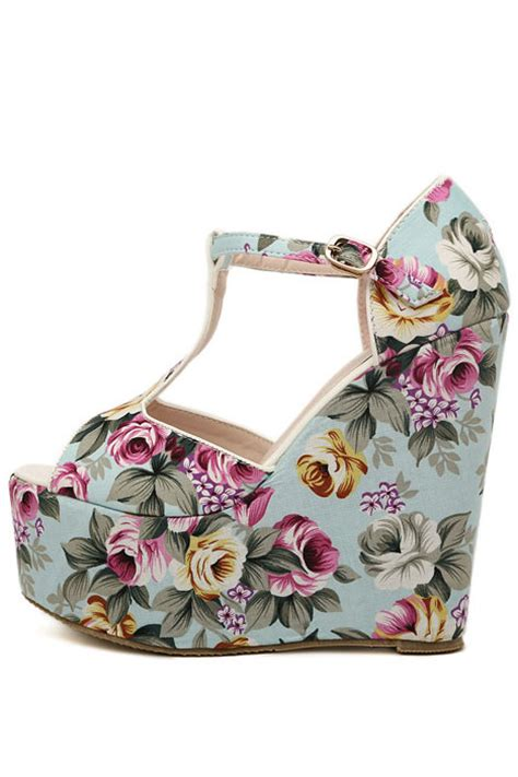 light blue floral print peep toe  strap wedges