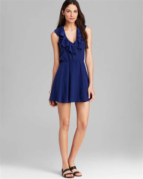 Mini Dress Amanda Denim amanda uprichard dress ruffle halter silk in blue navy lyst