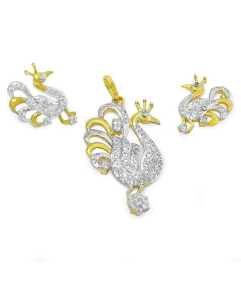 Handmade Gold Jewellery Designs - r s jewels pendant set gold plated peacock designs