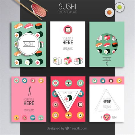 sushi flyers template vector free download