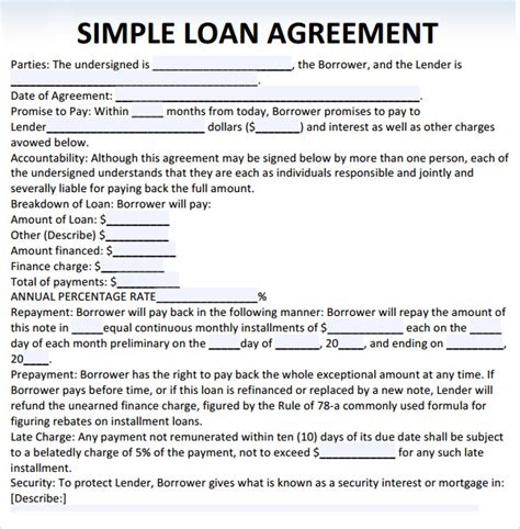 Loan Agreement Template Microsoft by Sle Loan Agreement 10 Free Documents In Pdf Word