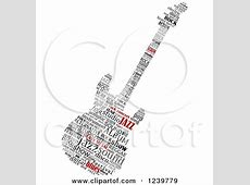 Clipart of a Shiny Red and White Electric Guitar Character ... Music Instruments Clipart Black And White
