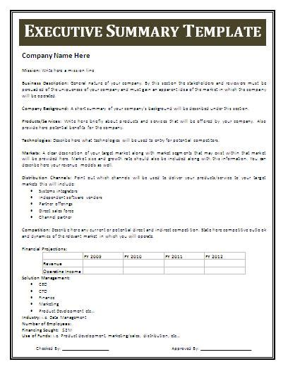 executive summary report template free executive summary template free business templates